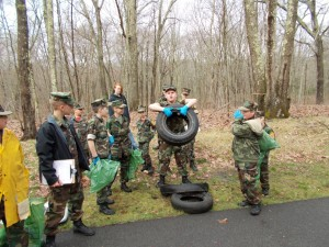 Natchaug River Young Marines clean up the Quinebaug River Trail in Killingly.
