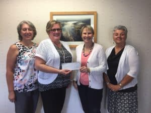 From Left to Right:  Sharon Wakely, Finance administrator of TLGV, Joan St. Ament, Vice President of Savings Institute Bank and Trust, Lois Bruinooge, Executive Director of TLGV, and Deb Kennett, Loan Officer of Savings Institute Bank and Trust.