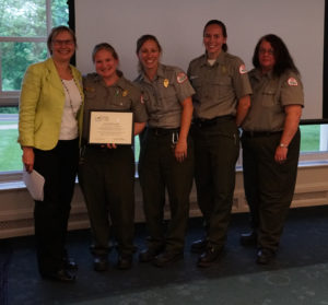 2019 Team Walktober, US Army Corps of Engineers Park Rangers Cathy St. Andre, Michelle Cucchi, Nicole Giles and Glenna Vitello